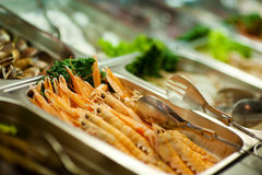 Raw shrimps on buffet Stock Image