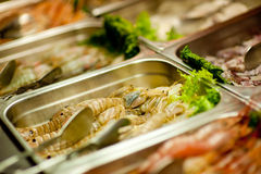 Raw shrimps on buffet Stock Photo