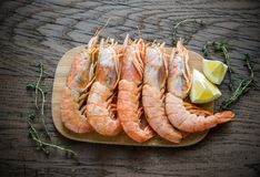 Raw shrimps with lemon wedges Royalty Free Stock Photo