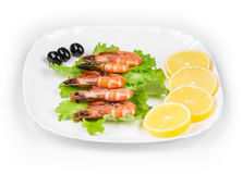 Raw shrimps on plate with lettuce and lemon. Stock Image