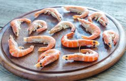 Raw shrimps on the wooden board Stock Images