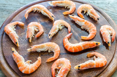 Raw shrimps on the wooden board Stock Image