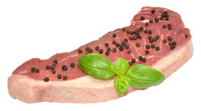 Raw Sirloin Steak And Pepper Corns Royalty Free Stock Image