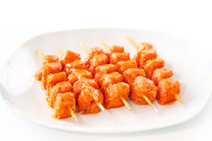 Raw skewered marinated chicken Royalty Free Stock Photography