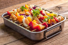 Raw skewers ready for grilling Stock Images