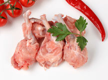 Raw skinless chicken drumsticks Stock Photo