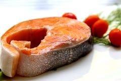Raw Salmon. Raw slice Salmon with tomato Stock Photos