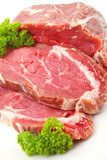 Raw sliced of beef meat or rib eye steak Stock Photo