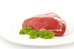 Raw sliced of beef meat or rib eye steak Stock Images