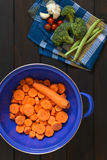Raw Sliced Carrot in Strainer Stock Images