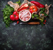 Raw sliced chicken meat ready for cooking. Selective focus Royalty Free Stock Images