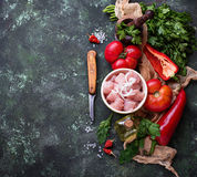 Raw sliced chicken meat ready for cooking. Selective focus Royalty Free Stock Image