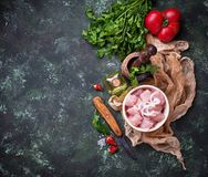 Raw sliced chicken meat ready for cooking. Selective focus Stock Photo