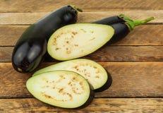 Raw sliced eggplant Stock Photo