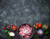Raw sliced meat ready for cooking. Top view Stock Photography