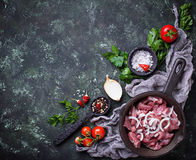 Raw sliced meat ready for cooking. Top view Stock Photo