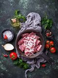 Raw sliced meat ready for cooking. Top view Stock Images