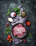 Raw sliced meat ready for cooking. Top view Royalty Free Stock Photography