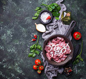 Raw sliced meat ready for cooking. Top view Royalty Free Stock Images