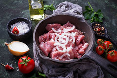 Raw sliced meat ready for cooking. Top view Royalty Free Stock Photos