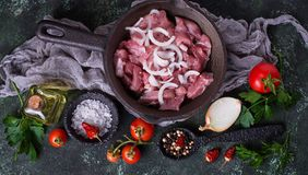 Raw sliced meat ready for cooking. Top view Stock Photos