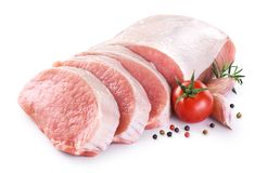 Free Raw Sliced Pork Loin With Tomato, Pepper, Rosemary And Garlic Royalty Free Stock Photos - 112639998