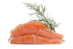 Raw slices of salmon. Stock Photo