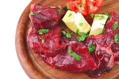 Raw small beef chunks Royalty Free Stock Photos