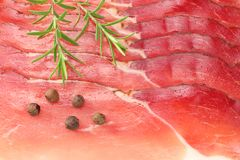 Raw smoked black forest ham background. ham texture. top view. macro stock images