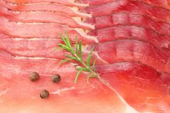Raw smoked black forest ham background. ham texture. top view. macro royalty free stock image