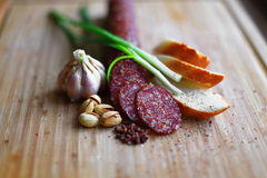 Raw smoked sausage Stock Photos