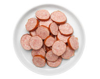 Raw smoked sausage slices Stock Images