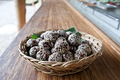 Raw snack balls. Mixed healthy nuts and dried fruits with sesame seeds Royalty Free Stock Photo