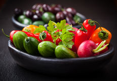 Raw snack vegetable with olives Royalty Free Stock Images
