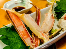 Raw snow crab legs in Japanese restaurant Royalty Free Stock Photos