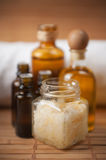 Raw Soap, Oils and Natural Peeling Cream Royalty Free Stock Images