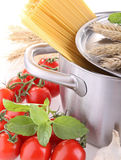Raw spaghetti and ingredient Stock Image