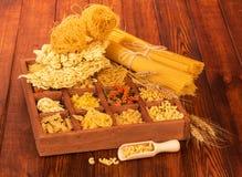 Raw spaghetti and pasta Stock Photography