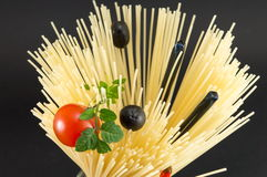 Raw spaghetti in spiral shape ready for cooking Stock Images