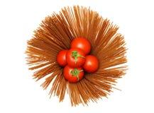 Raw spaghetti with tomato Royalty Free Stock Photography