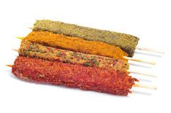 Raw spanish pinchos morunos, spiced chicken meat skewers Stock Photos