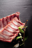 Raw Spare Ribs with Fresh Herbs Royalty Free Stock Images