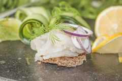 Raw spiced white fish Stock Photography