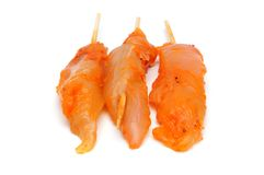 Raw spicy chicken skewers Royalty Free Stock Photography