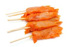 Raw spicy chicken skewers Stock Image