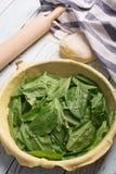Raw spinach pie Royalty Free Stock Photos