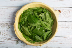 Raw spinach pie Royalty Free Stock Image