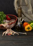 Raw squid and vegetables Stock Photo