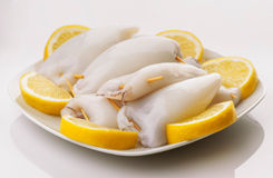 Raw squid ready to be cooked in plate and cut lemons Stock Photo