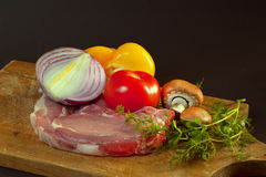 Raw Steak with Vegetables Stock Photography